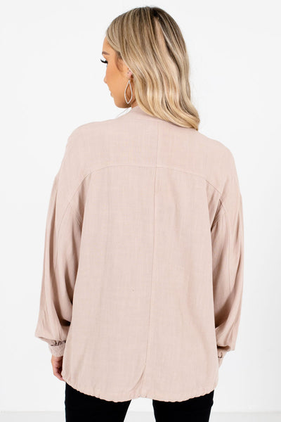 Women's Beige Button-Up Front Boutique Jacket
