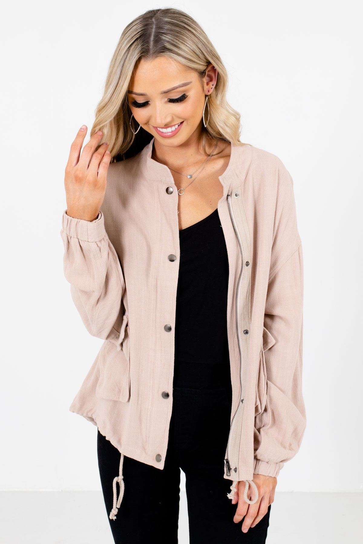 Beige Zip-Up Front Boutique Jackets for Women