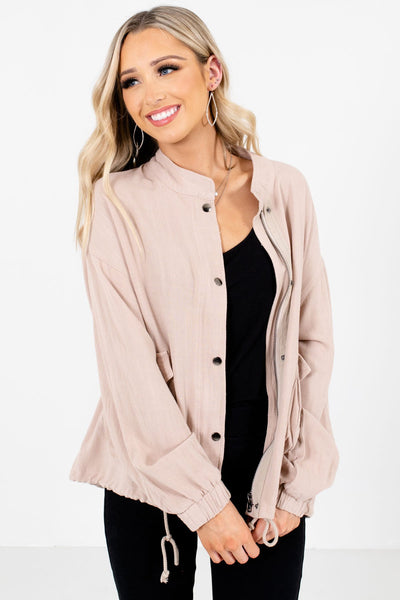 Women's Beige Layering Boutique Jackets