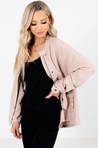 Beige High-Quality Lightweight Material Boutique Jackets for Women