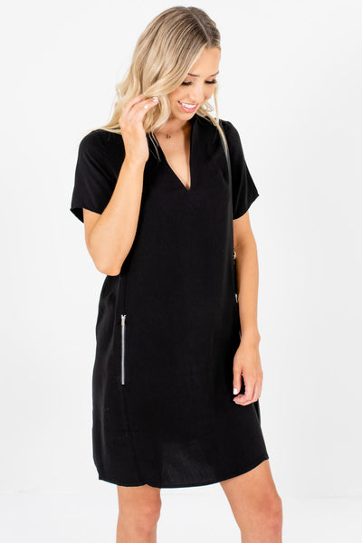 Black Zipper Mini Dresses Affordable Online Boutique