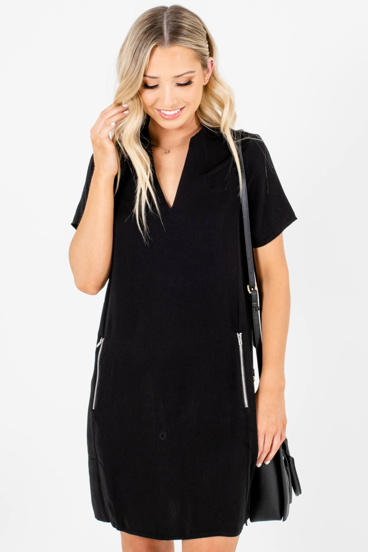 Black Business Casual Boutique Mini Dresses with Zipper Pockets