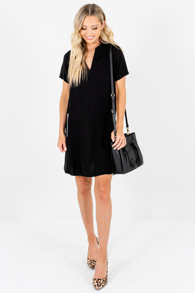 Black Zipper Pocket Mini Dresses Affordable Online Boutique