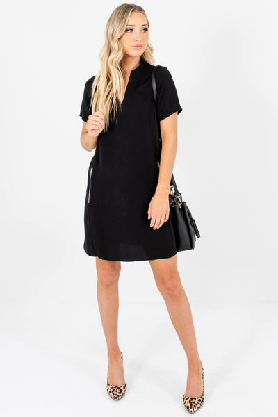 Black Straight Silhouette Zipper Mini Dresses for Women