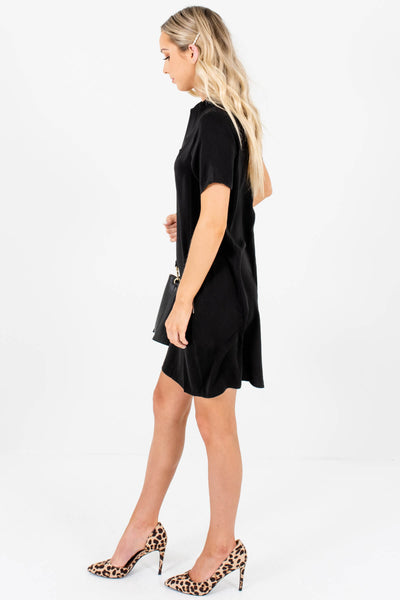 Black Mini Dresses with Zipper Back and Zipper Pockets