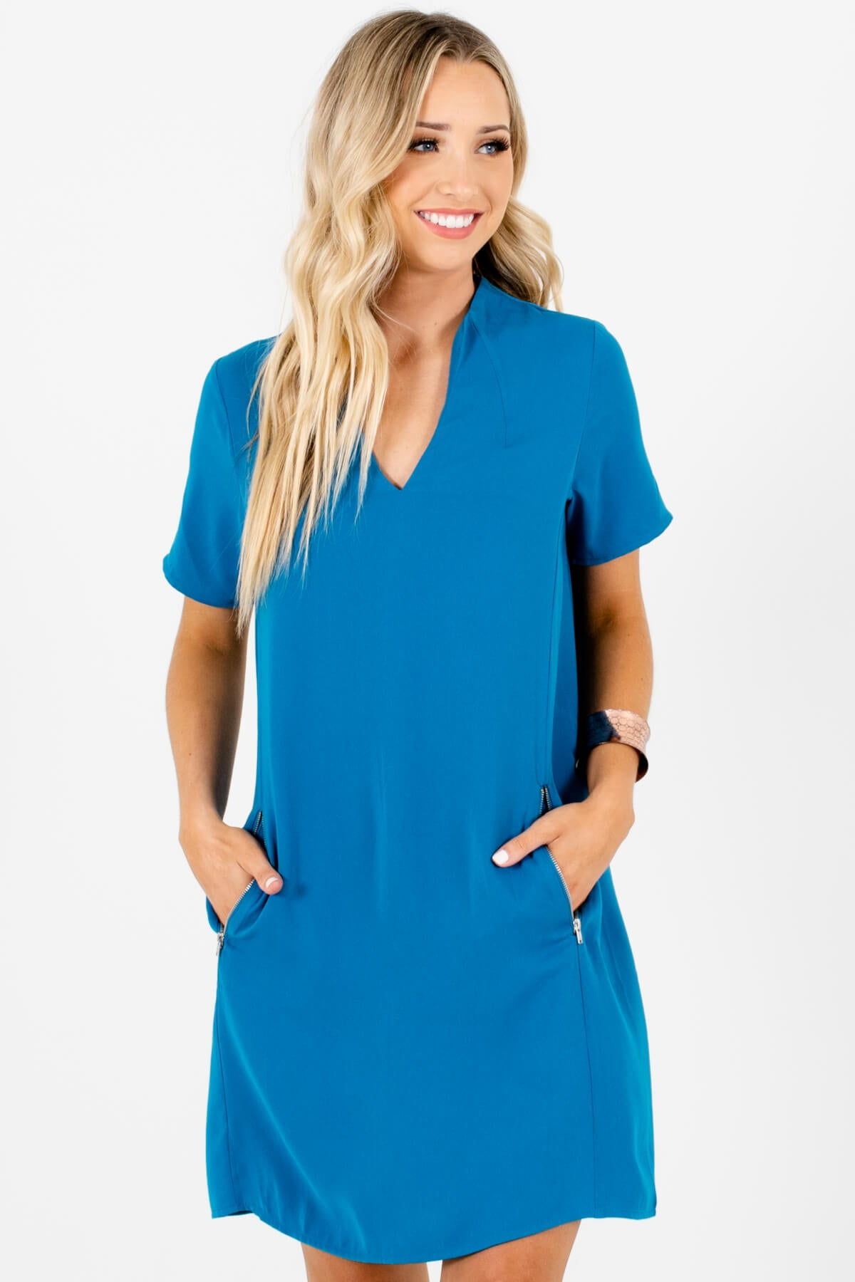Blue Business Casual Boutique Mini Dresses with Zipper Accents