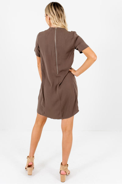 Brown Zipper Mini Dresses Affordable Business Casual Boutique