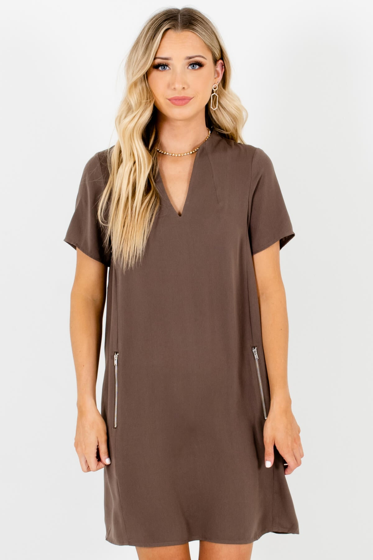 Olive Brown Zipper Mini Dresses Affordable Online Boutique Officewear