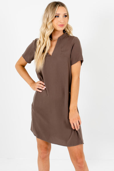 Brown Zipper Pocket Mini Dresses Affordable Online Boutique