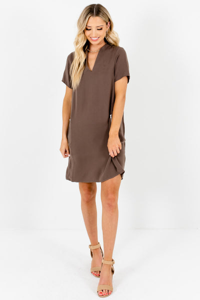 Brown Zipper Mini Dresses Affordable Online Boutique