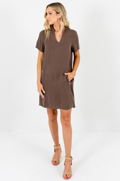 Womens Business Casual Brown Mini Dresses with Pockets
