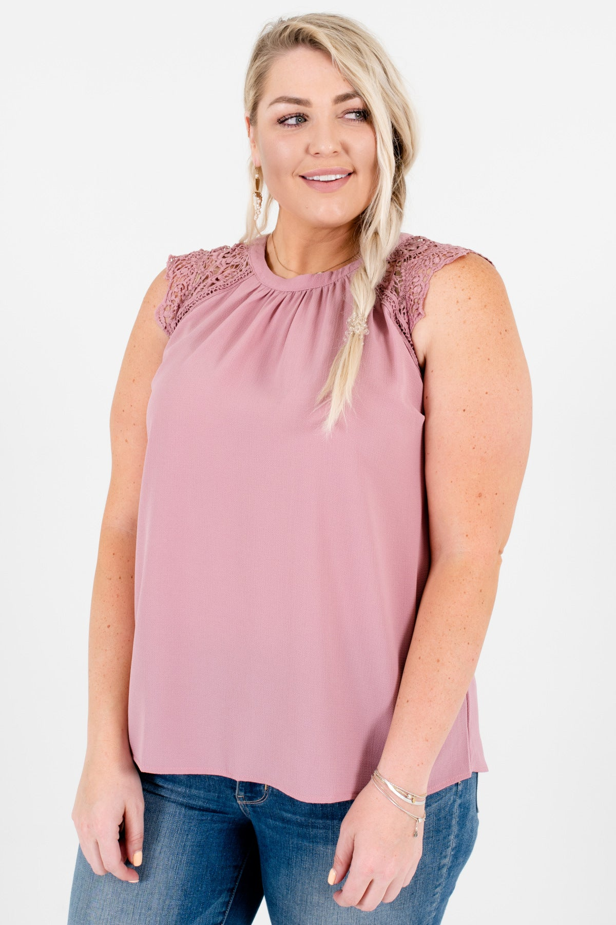 Mauve Lavender Purple Plus Size Pleated Lace Blouses Boutique