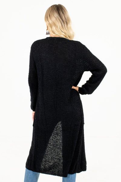 Women's Black Longer Length Boutique Cardigan