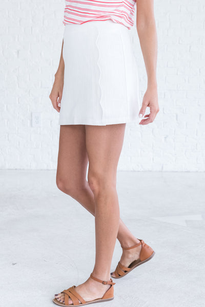 White Cute Fitted Skirts for Women