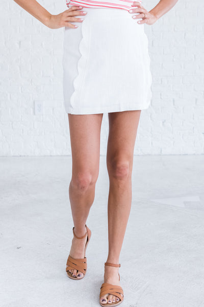 White Scalloped Mini Skirts for Women