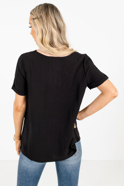 Black Front Pleated Accent Boutique Tops for Women