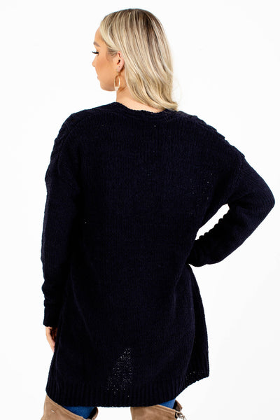 Women's Navy High-Quality Boutique Cardigan
