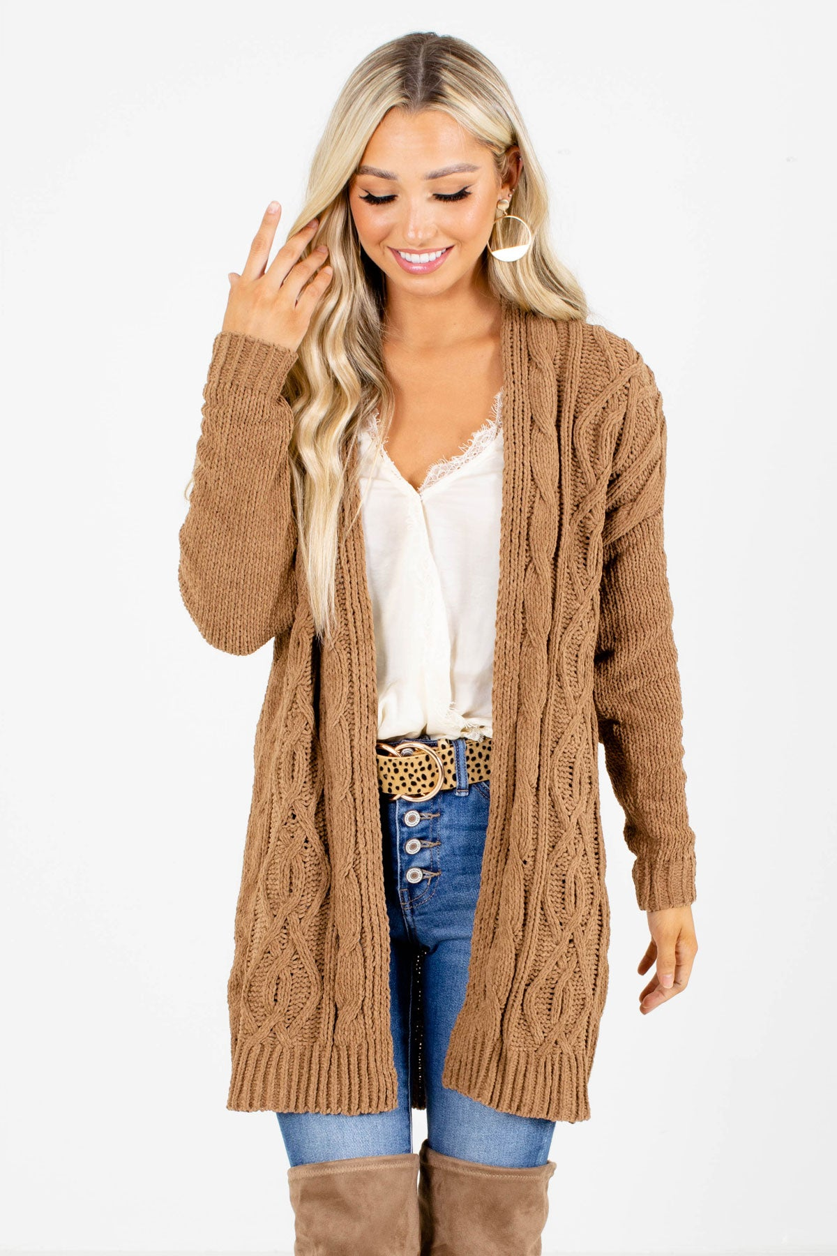 Brown Cable Knit Material Boutique Cardigans for Women