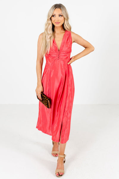 Women's Coral Pink Cute Partially Lined Boutique Maxi Dress