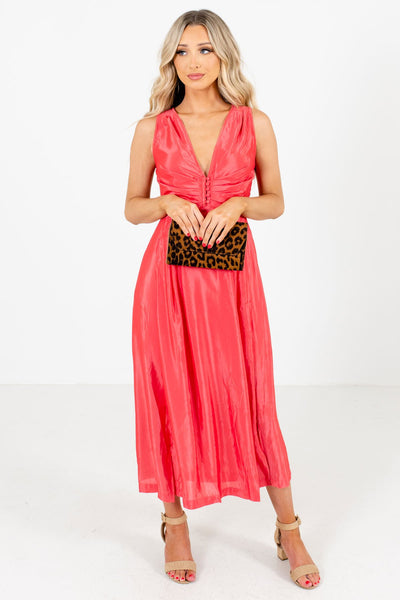 Coral Pink Button-Up Bodice Boutique Dresses for Women