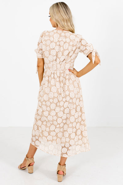 Women's Cream Lace Material Boutique Midi Dress