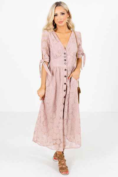 Pink Self-Tie Sleeve Boutique Midi Dresses for Women