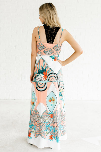 White Turquoise Peach Patterned Wrap Maxi Dresses for Women
