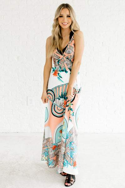 White Multicolored Maxi Wrap Dresses Affordable Online Boutique