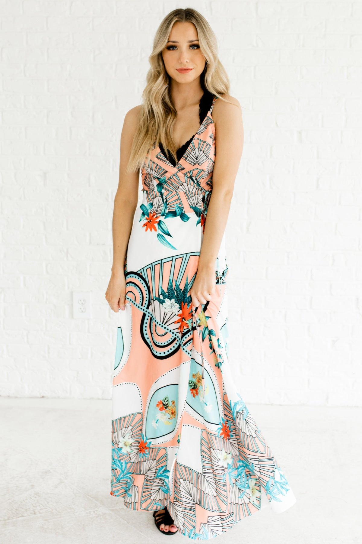 White Turquoise Coral Peach Patterned Boutique Maxi Wrap Dresses