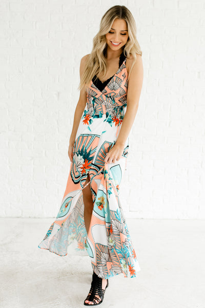 White Turquoise Coral Orange Maxi Wrap Dresses Boutique