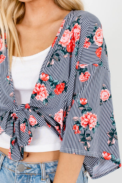 Black White Pink Green Rose Floral Print Tie-Front Kimonos for Women