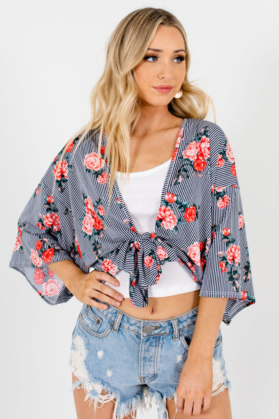 Black White Pink Green Striped Floral Kimonos Affordable Online Boutique