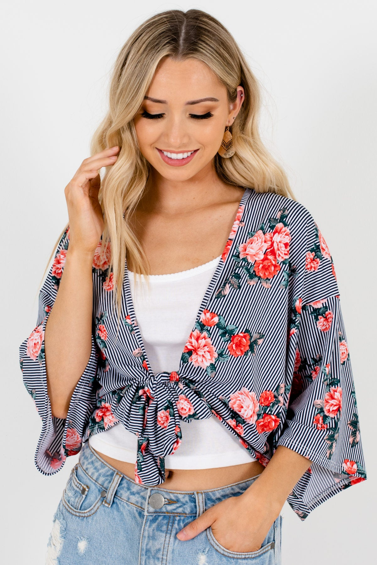 Black White Striped Pink Rose Floral Print Tie-Front Kimonos
