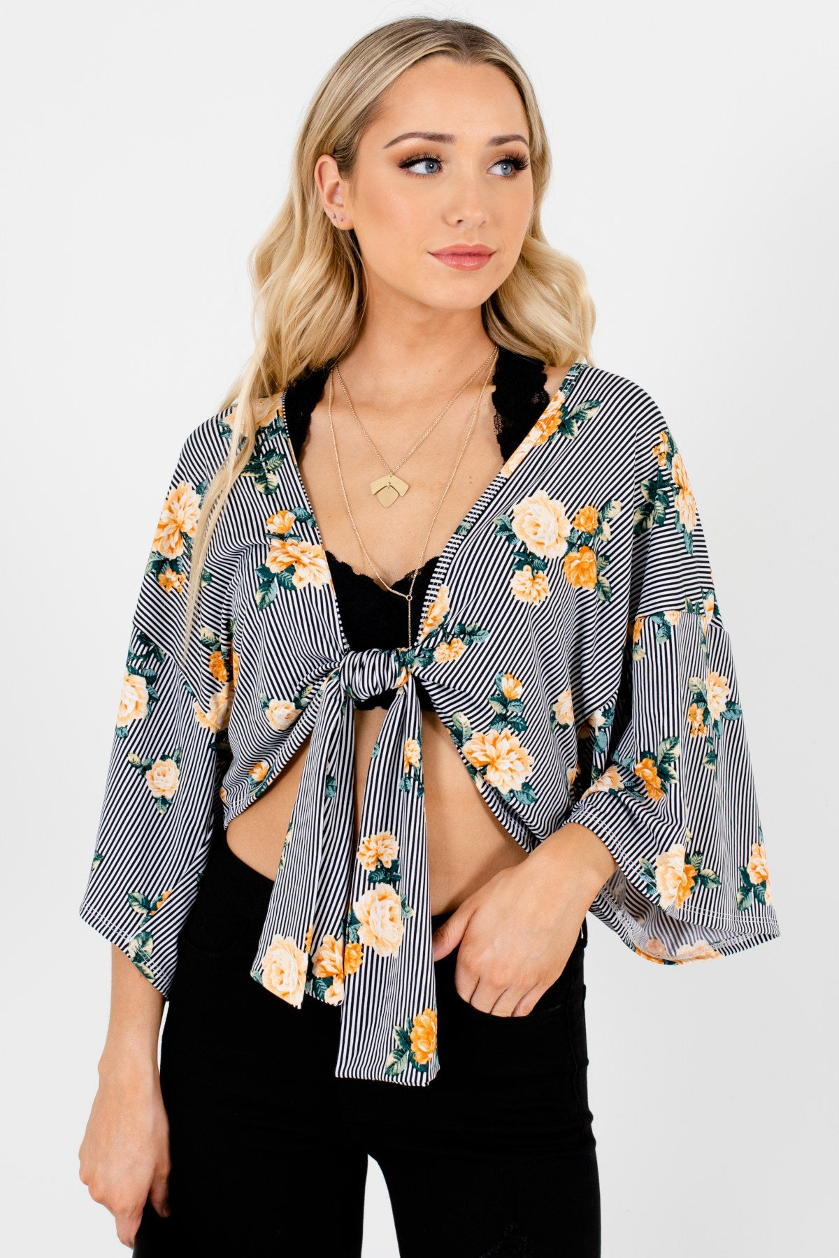 Black White Yellow Green Floral Striped Cropped Kimono Boutique