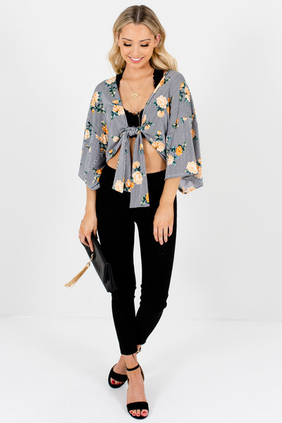 Black Striped Yellow Green Floral Cropped Tie-Front Kimonos