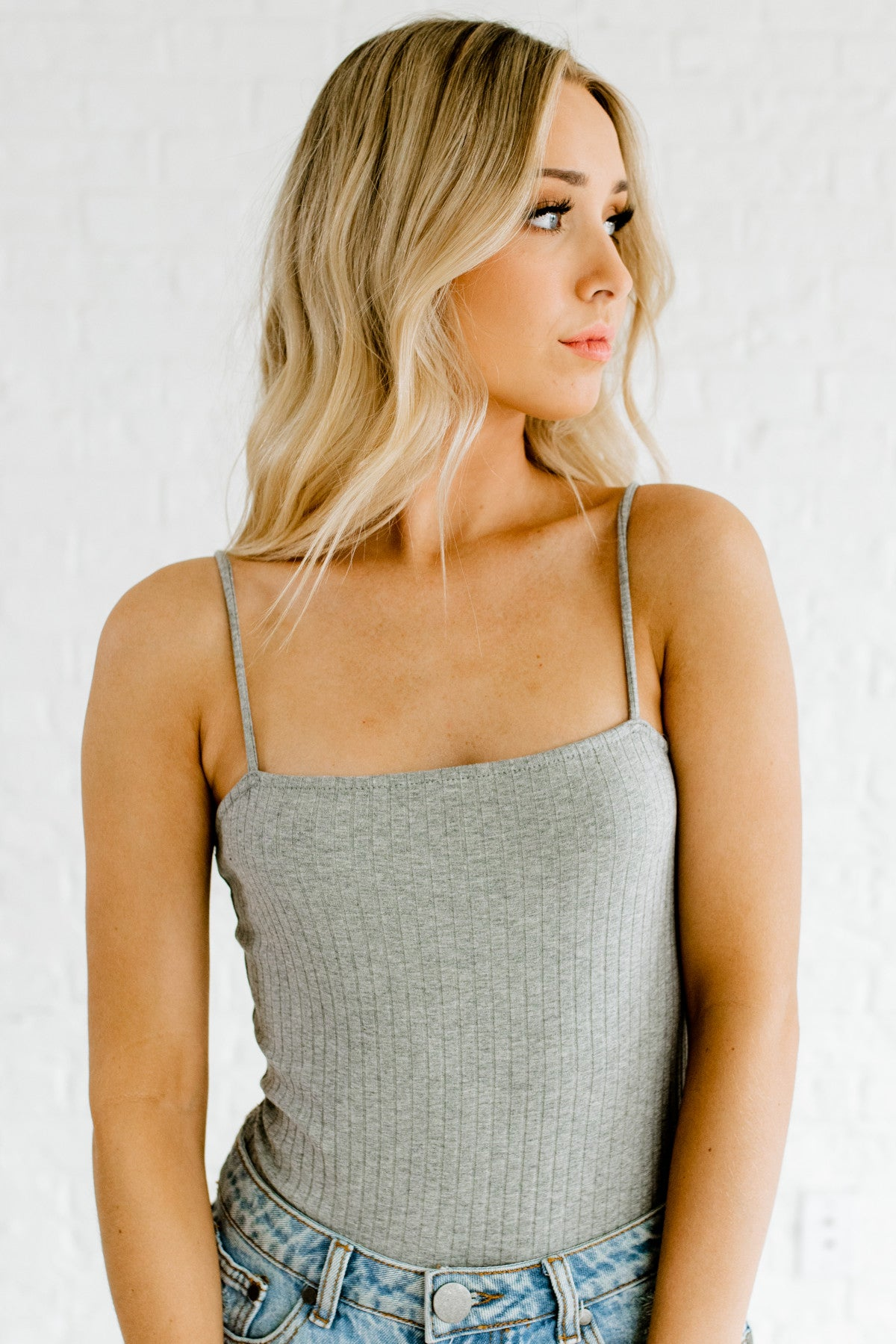 Heather Gray Ribbed Boutique Bodysuits for Women
