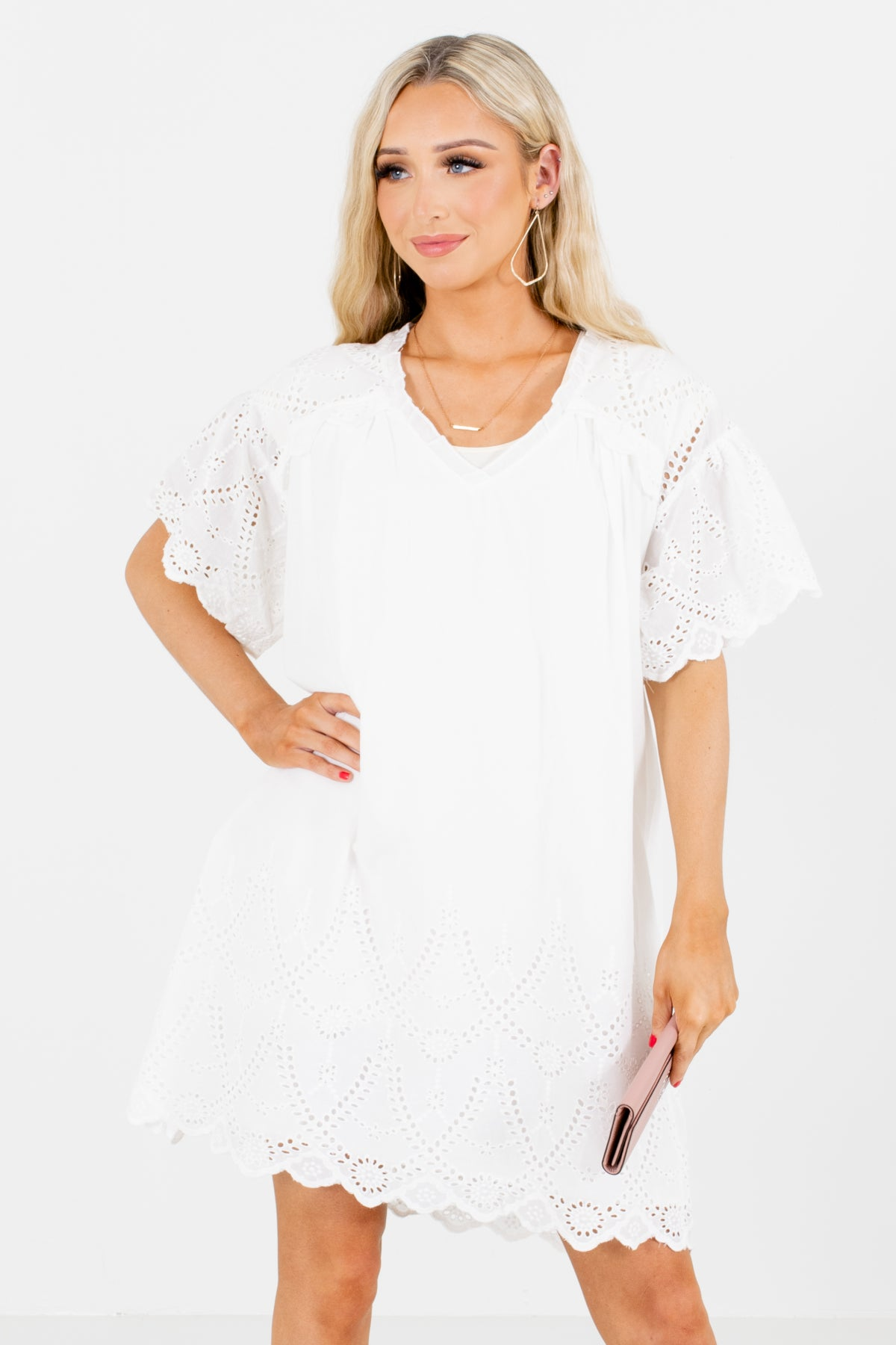 White Split V-Neckline Boutique Mini Dresses for Women