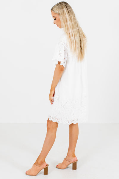 Women's White Eyelet Detailed Boutique Mini Dress
