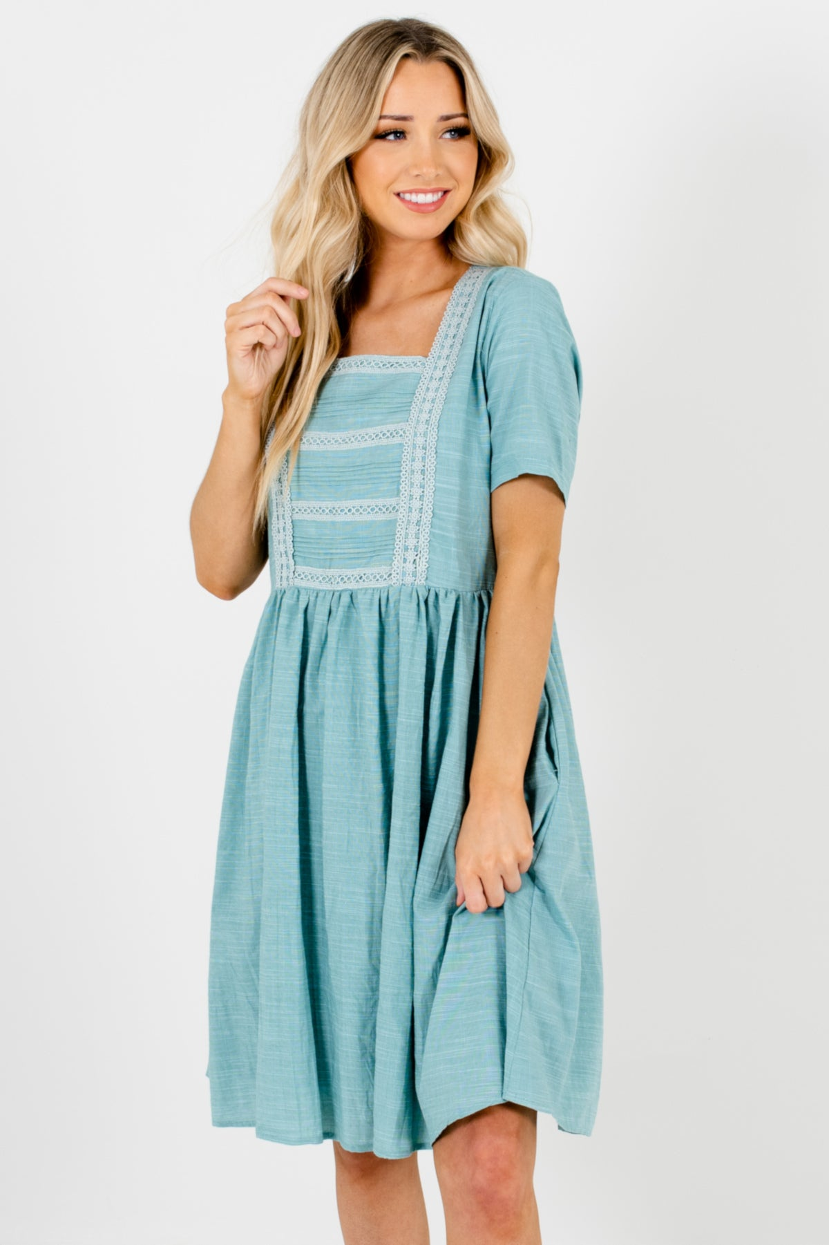 Turquoise Blue Smock Crochet Mini Dresses Affordable Online Boutique