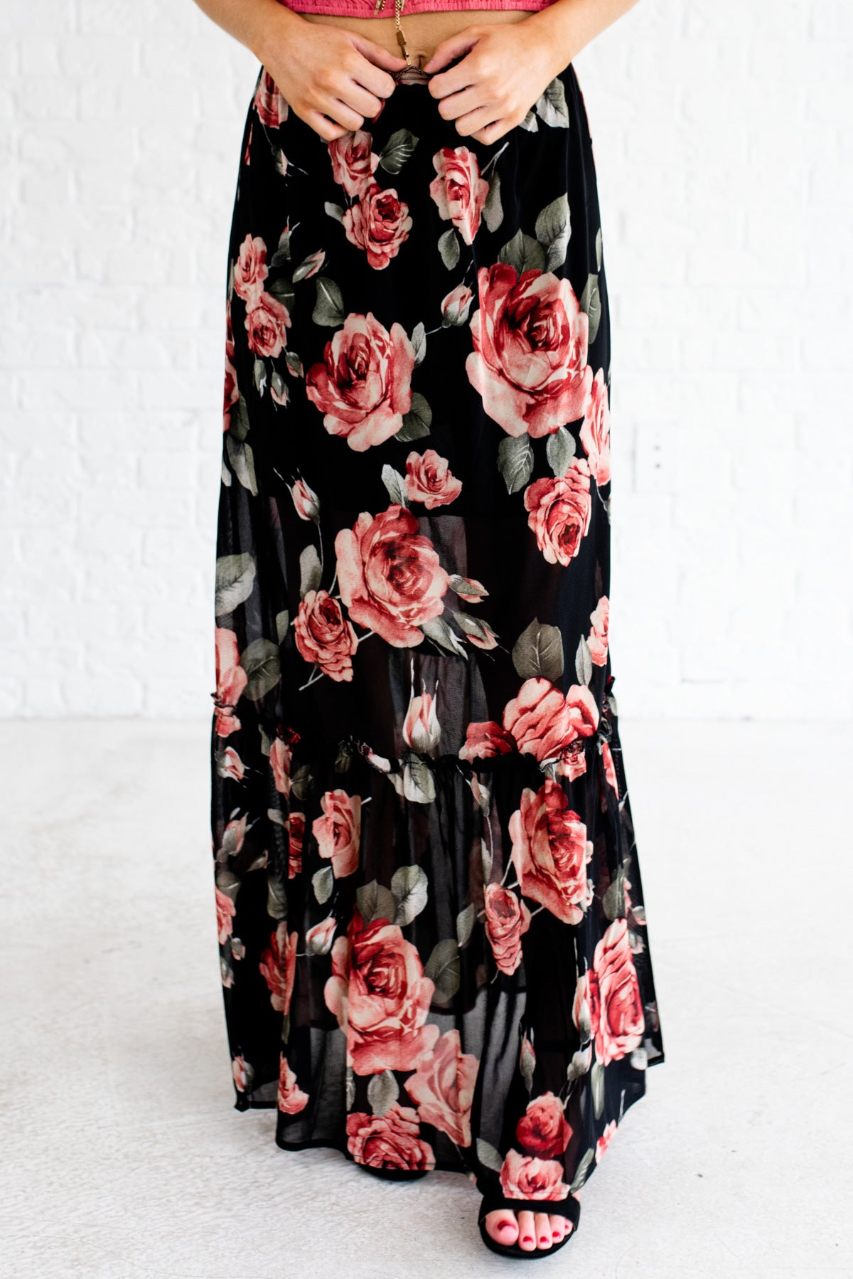 Black and Red Floral Rose Patterned Boutique Maxi Skirts for Women