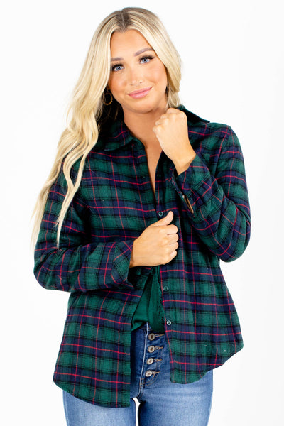 Green Plaid Patterned Boutique Tops for Women