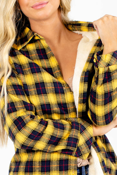 Women's Yellow Cozy and Warm Boutique Shirts
