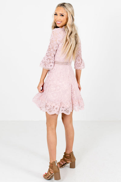 Women's Pink Ruffle Accented Boutique Mini Dress