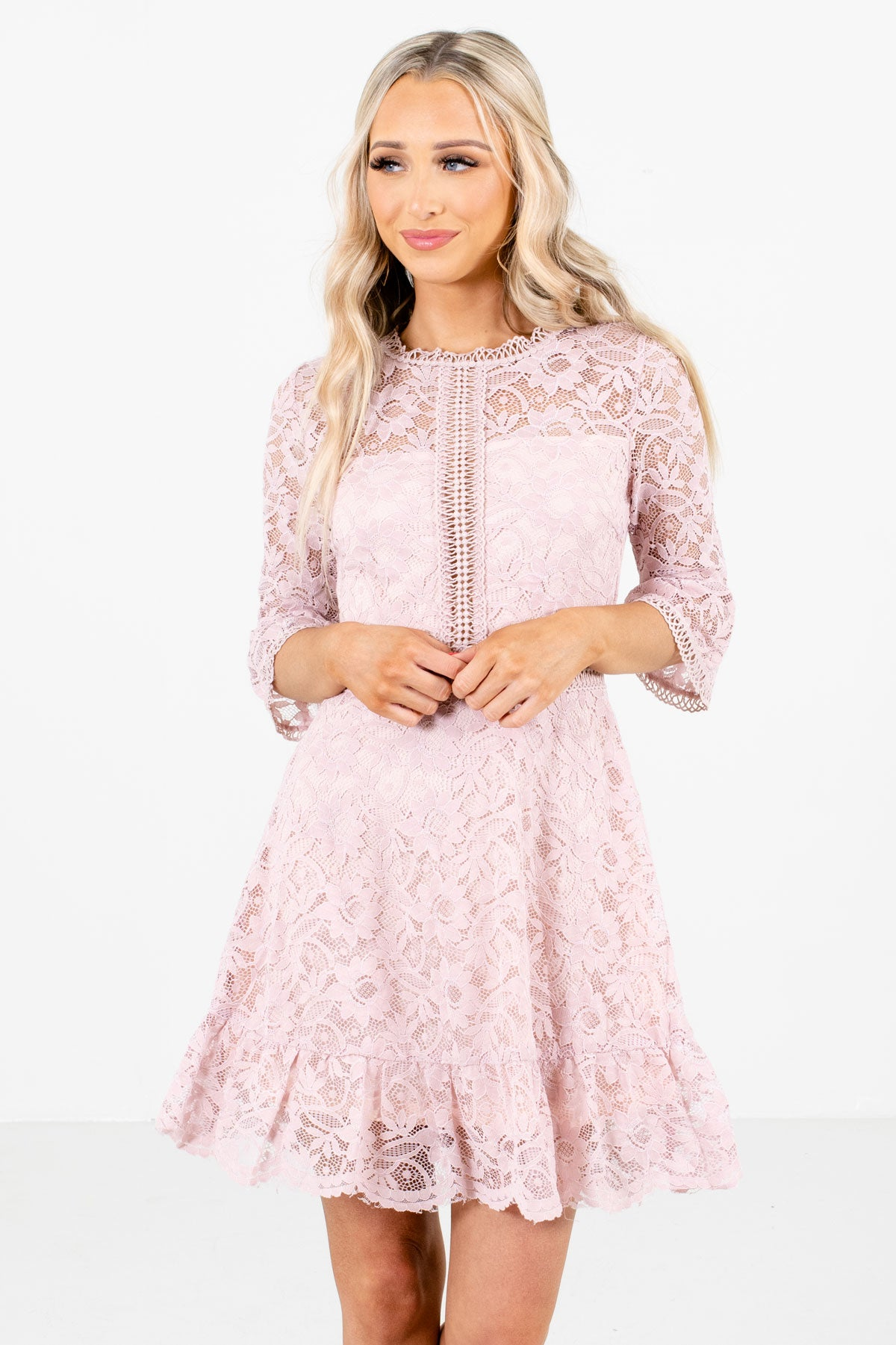 Pink Floral Lace Boutique Mini Dresses for Women