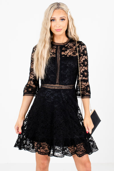 Black Lace Boutique Mini Dresses for Women
