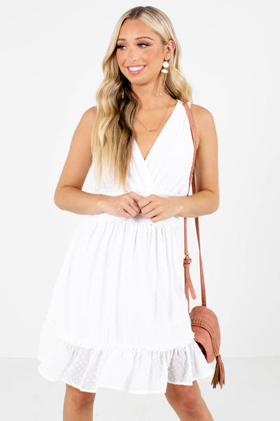 White Smocked Waistband Boutique Mini Dresses for Women