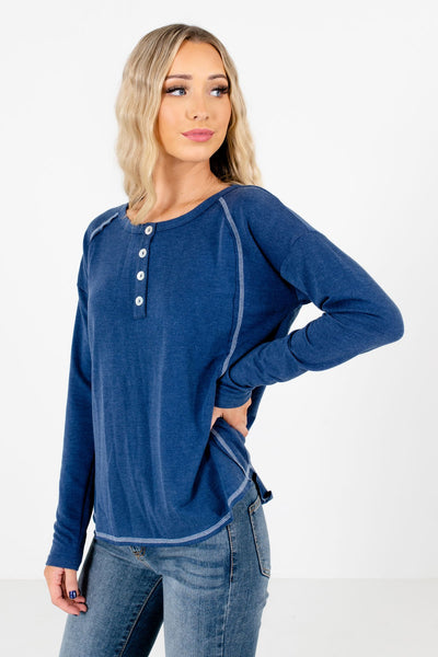 Women's Blue Warm and Cozy Boutique Tops