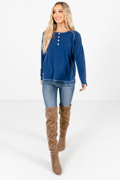 Women's Blue Soft and Semi-Stretchy Boutique Tops