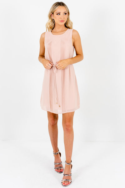 Blush Pink Pleated Mini Dresses for Women