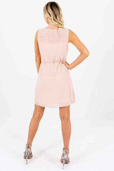Blush Pink Cute Pleated Mini Dresses for Women